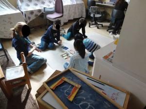 Big and small kids had fun at drawing